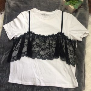Zara Trafaluc Lace Corset White Blouse